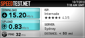 Speedtest.net Result 7th October 2010