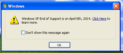 Windows XP End of Support Notice